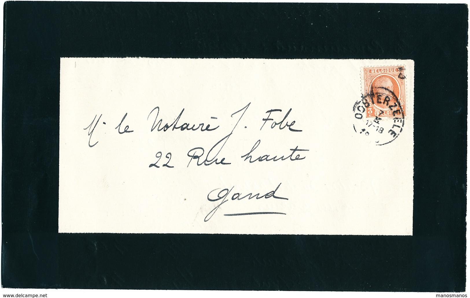 505/25 - Faire-Part De Deuil (sans Contenu) TP Houyoux OOSTERZEELE - Texte Du Notaire Fobe Cc. Décès Mr Huyghebaert - 1922-1927 Houyoux