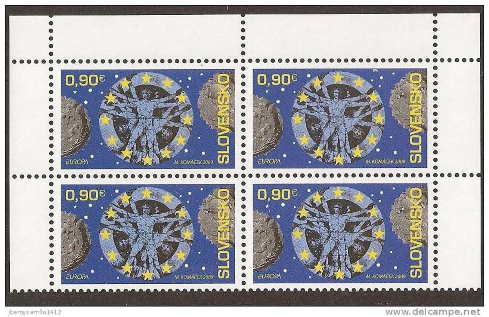 """ESLOVAQUIA /SLOVAKIA /SLOWAKEI - EUROPA 2009 -  TEMA ANUAL """"ASTRONOMIA"""" - SERIE De 1 V. EN BLOC DE 4 -DENTADOS - Europa-CEPT"""