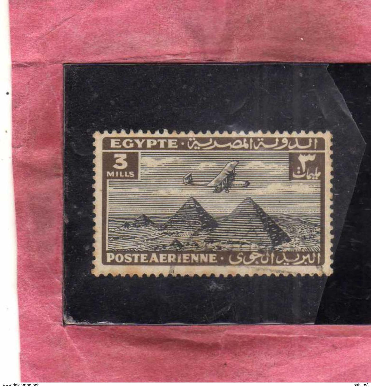 EGYPT EGITTO 1933 1938 AIR MAIL POSTA AEREA AIRPLANE OVER GIZA PYRAMIDS 3m USATO USED OBLITERE' - Posta Aerea