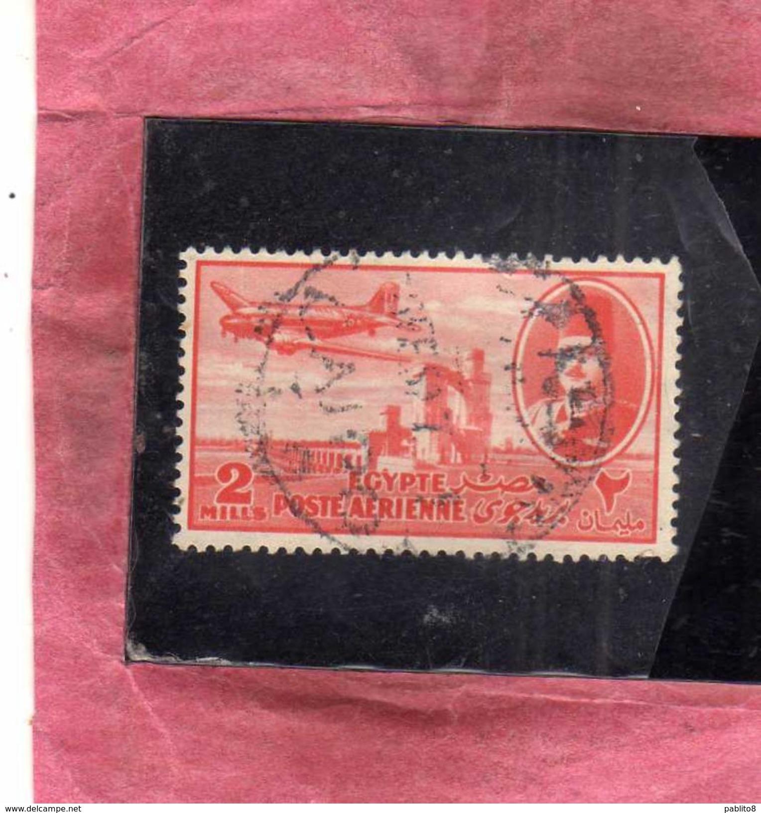 EGYPT EGITTO 1947 AIR MAIL POSTA AEREA KING FAROUK DELTA DAM DC-3 PLANE 2m USATO USED OBLITERE' - Posta Aerea