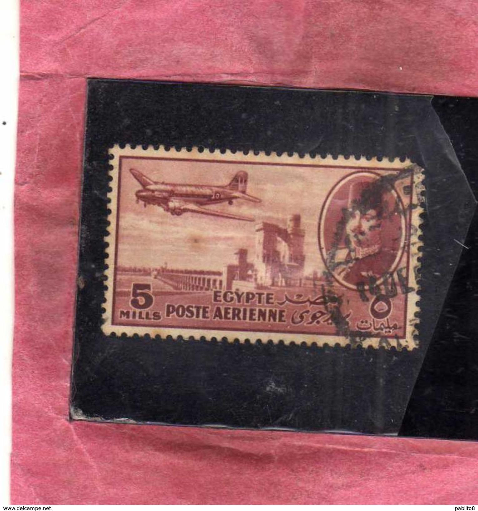 EGYPT EGITTO 1947 AIR MAIL POSTA AEREA KING FAROUK DELTA DAM DC-3 PLANE 5m USATO USED OBLITERE' - Posta Aerea