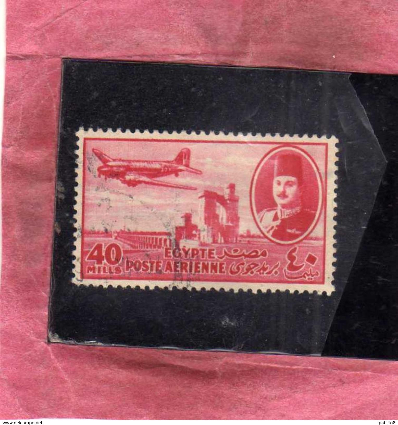 EGYPT EGITTO 1947 AIR MAIL POSTA AEREA KING FAROUK DELTA DAM DC-3 PLANE 40m USATO USED OBLITERE' - Posta Aerea