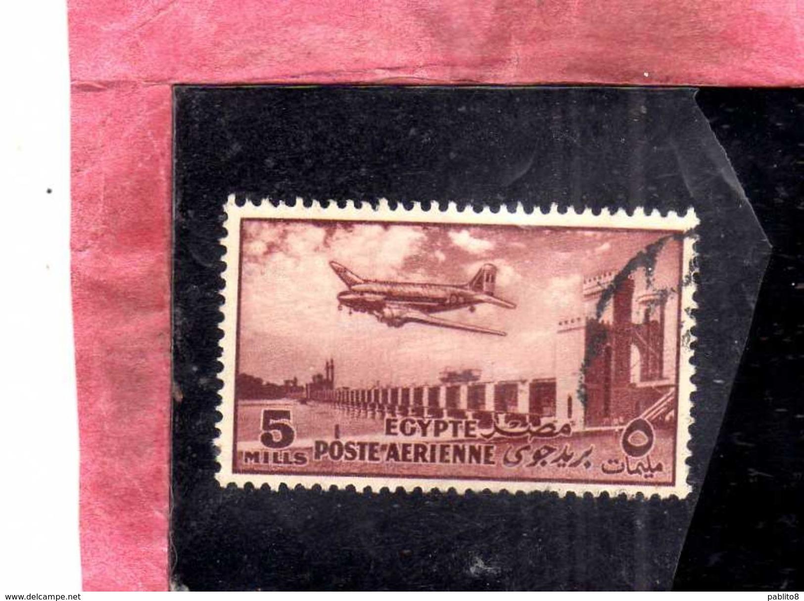 EGYPT EGITTO 1953 AIR MAIL POSTA AEREA DELTA DAM DOUGLAS DC-3 PLANE 5m USATO USED OBLITERE' - Posta Aerea