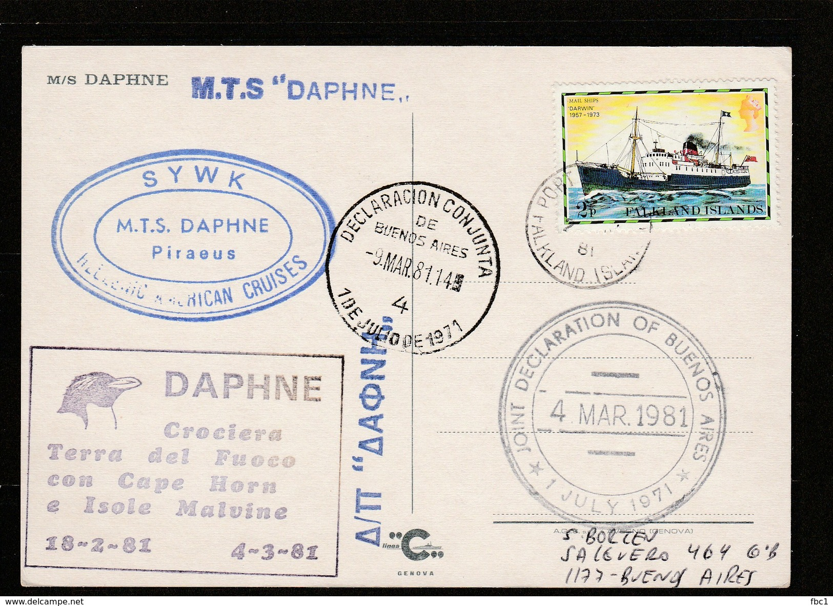 Falkland Islands - Postcard M/S Daphne  - Port Stanley 1981 - Malvine - Falkland