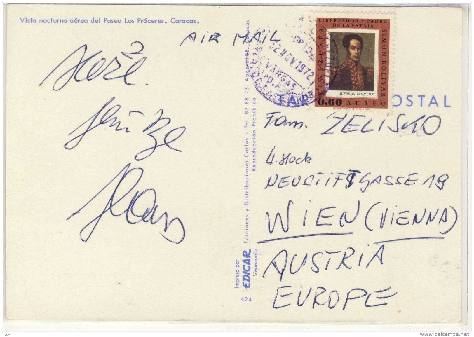 CARACAS - Vista Nocturna Aèrea Del Paseo Los Próceres,  Used 1972,  Nice Stamp - Venezuela