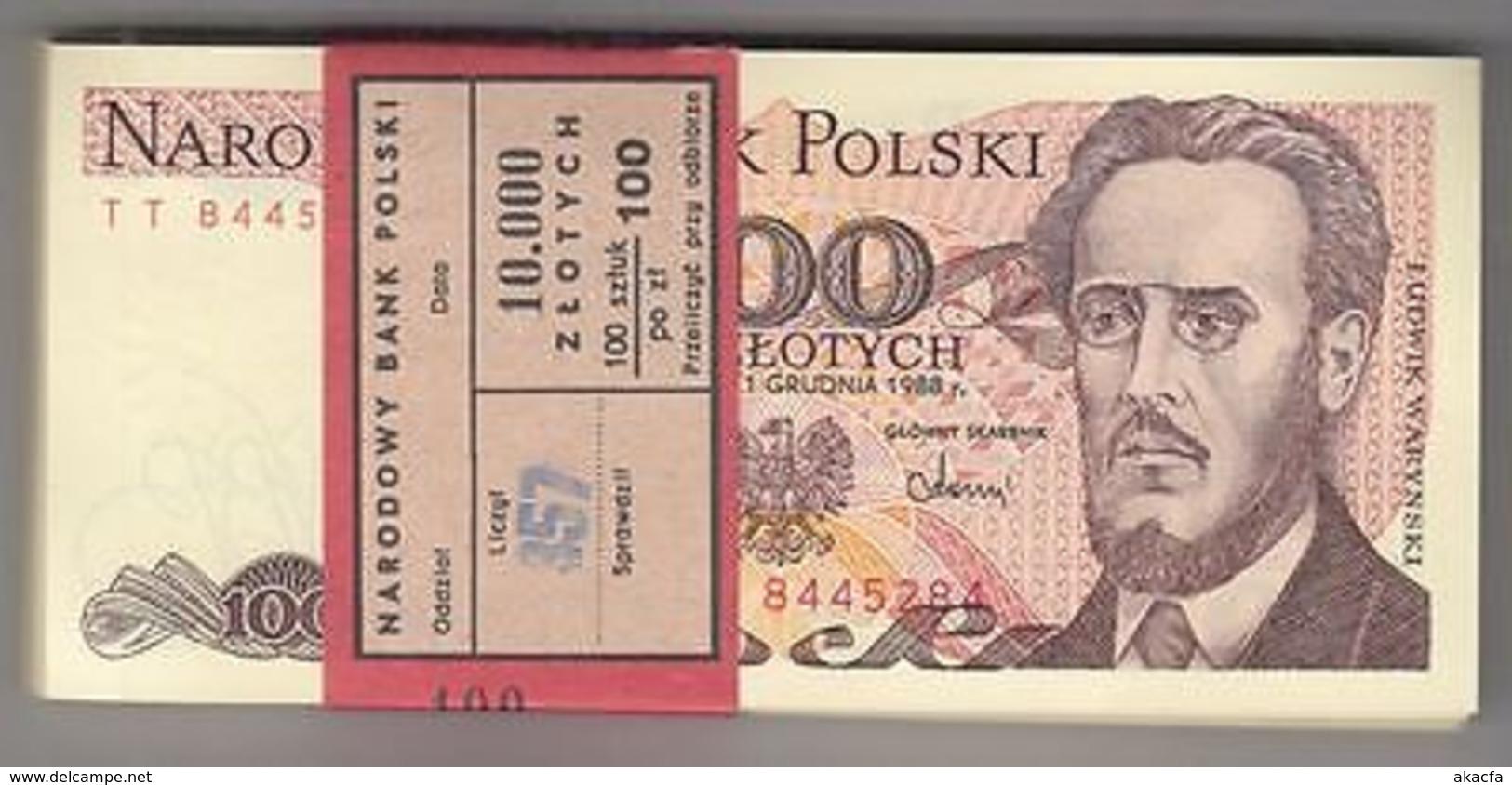 POLOGNE 100 ZL. Warynski Bundle 100pcs UNC. Billets Pick 143 Wholesale - Billets