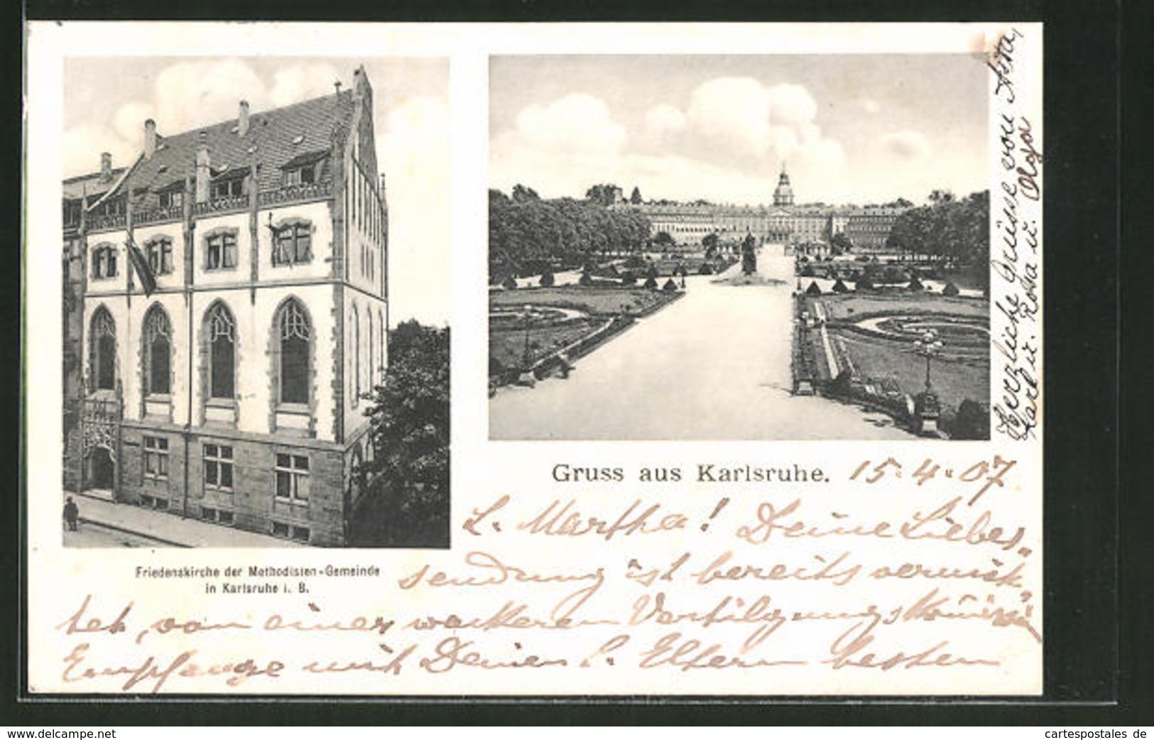 AK Karlsruhe, Blick Zum Schloss, Friedenskirche Der Methodisten-Gemeinde - Karlsruhe
