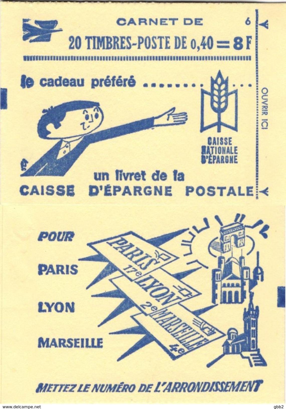 """CARNET 1536B-C 2 Marianne De Cheffer  """"CAISSE D´EPARGNE POSTALE"""" Conf. 6 Fermé. Parfait état, RARE. - Usage Courant"""