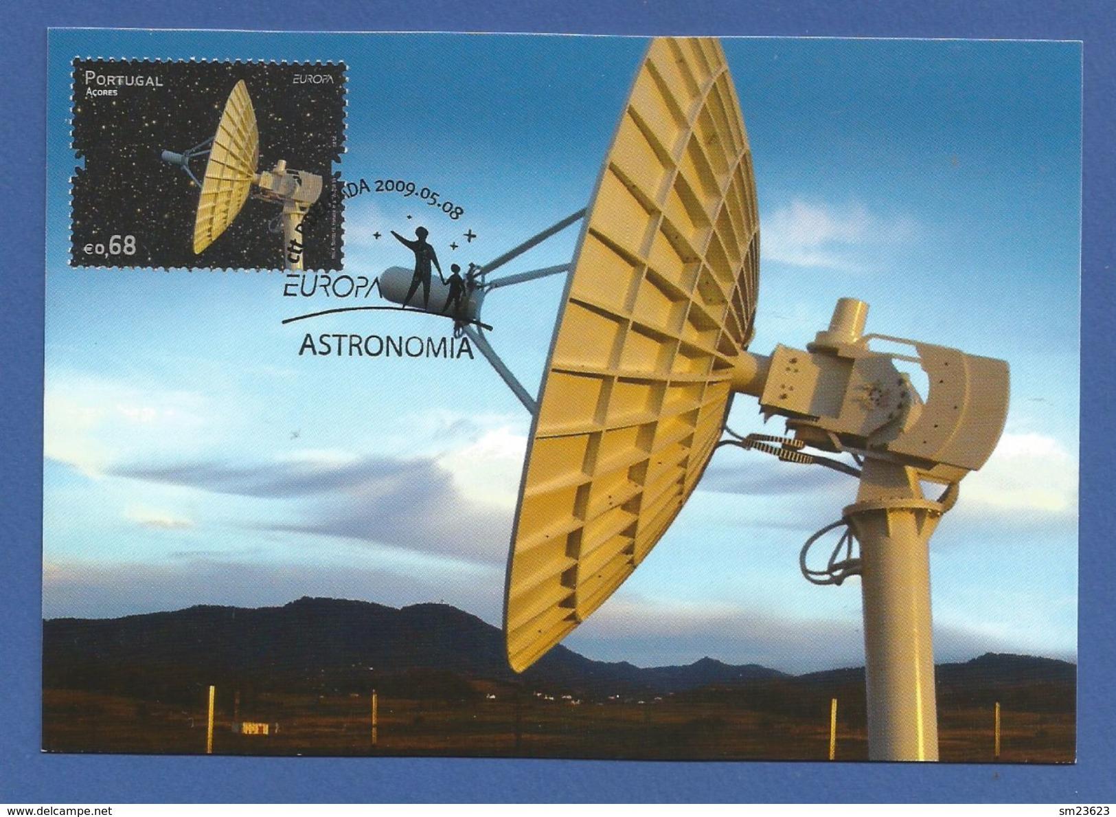Portugal Azoren  Mi.Nr. 558 , EUROPA - CEPT - Astronomie - Maximum Karte - Erstausgabe 08.05.2009 - Europa-CEPT