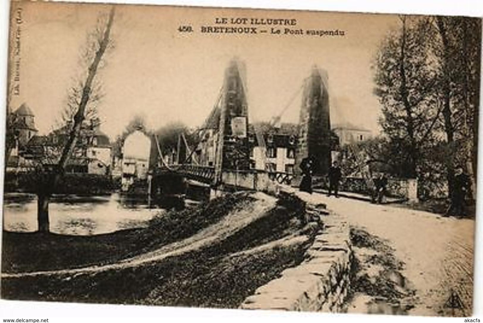 CPA  Le Lot Illustré - Bretenoux - Le Pont Suspendu    (223373) - Non Classés