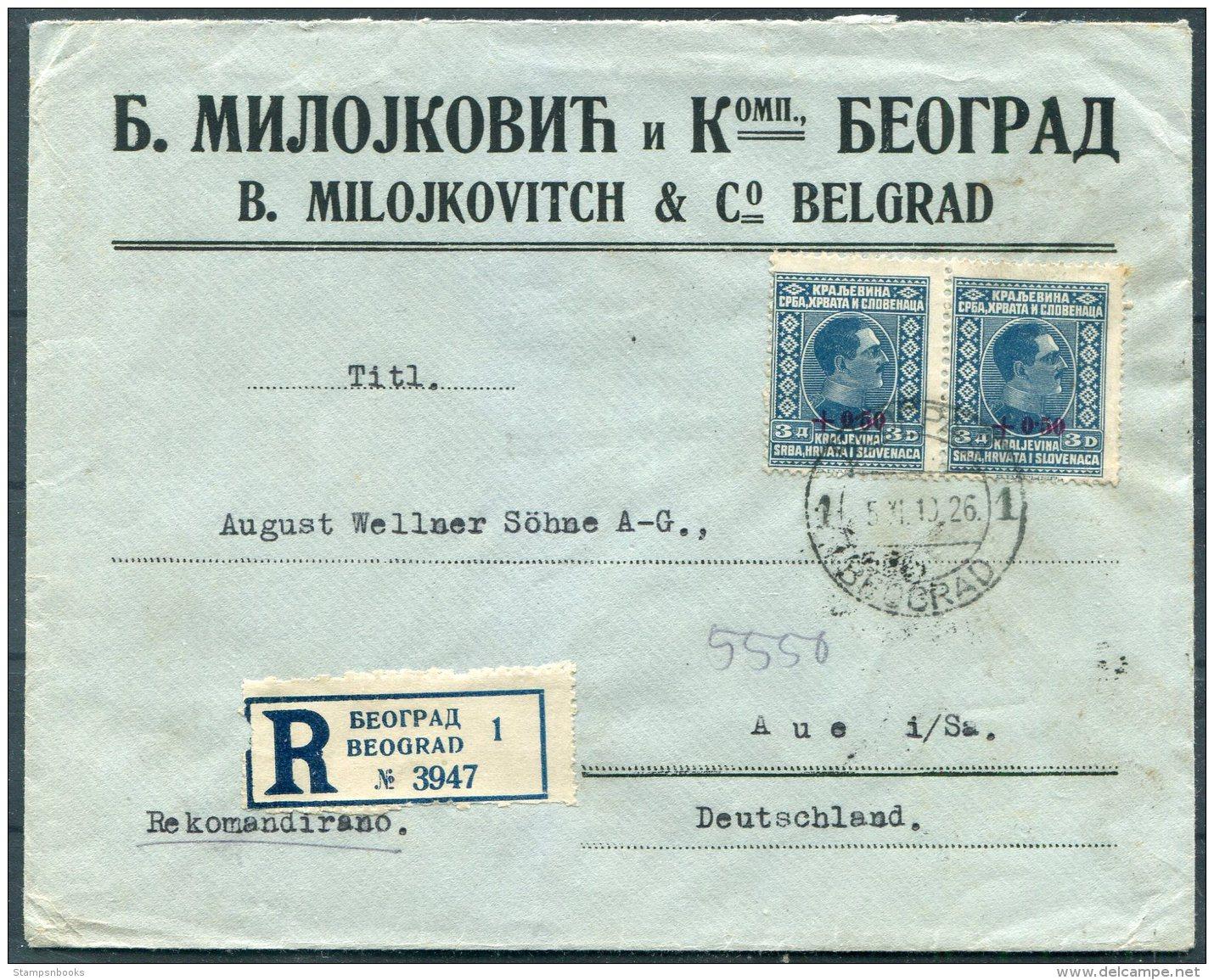 1926 Belgrade Registered Provisional Overprint Cover Milojkovitch & Co - Aue, Germany - 1919-1929 Königreich Der Serben, Kroaten & Slowenen