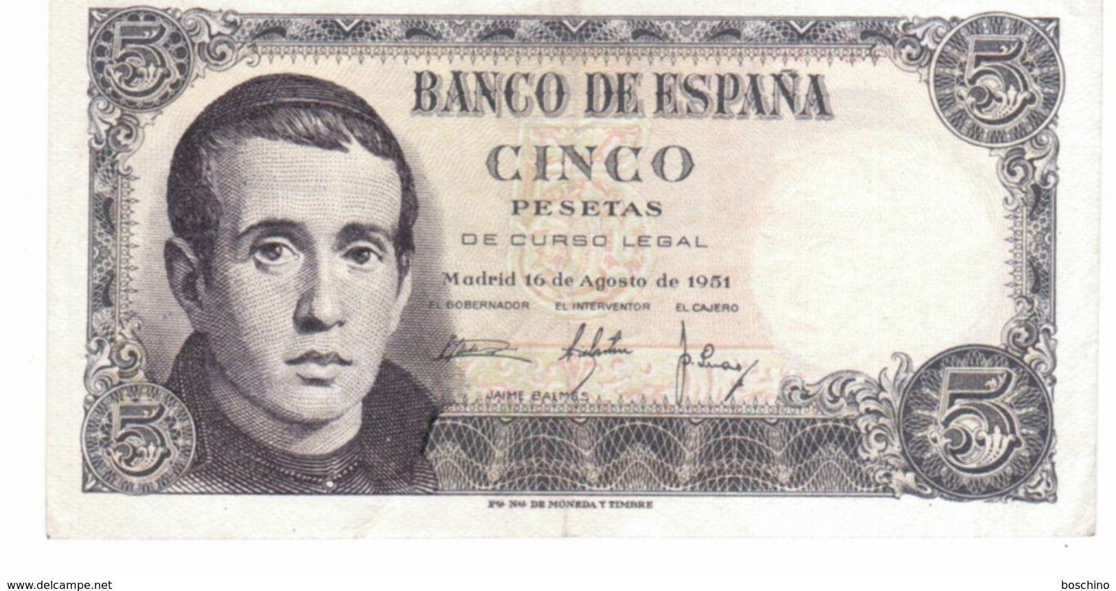 "Billet De "" Cinco Pesetas"" (cinq Pesetas) - [ 3] 1936-1975 : Régence De Franco"