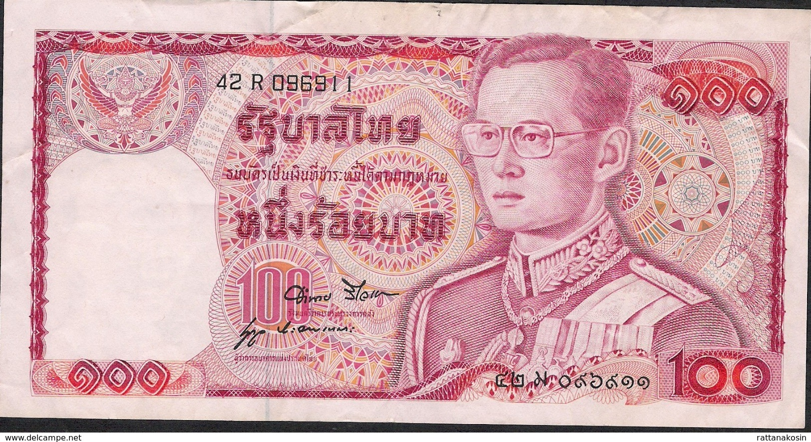 THAILAND  P89e 100 BAHT 1978 #42R Signature 52 F-VF NO P.h. ! - Tailandia