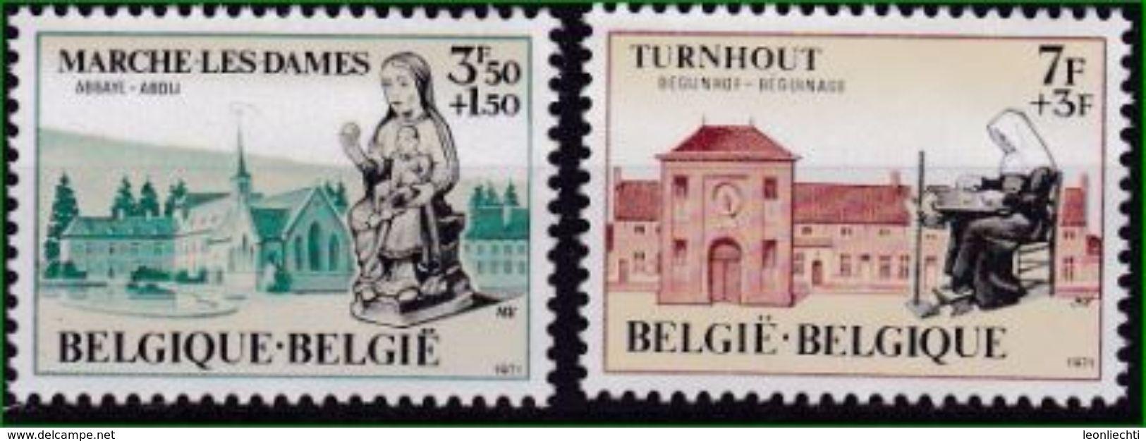 Belgien 1971 Mi: 1629 + 1630 ** Abtei Notre Dame Du Vivier Und Beginenhof In Turnhout - Abbayes & Monastères
