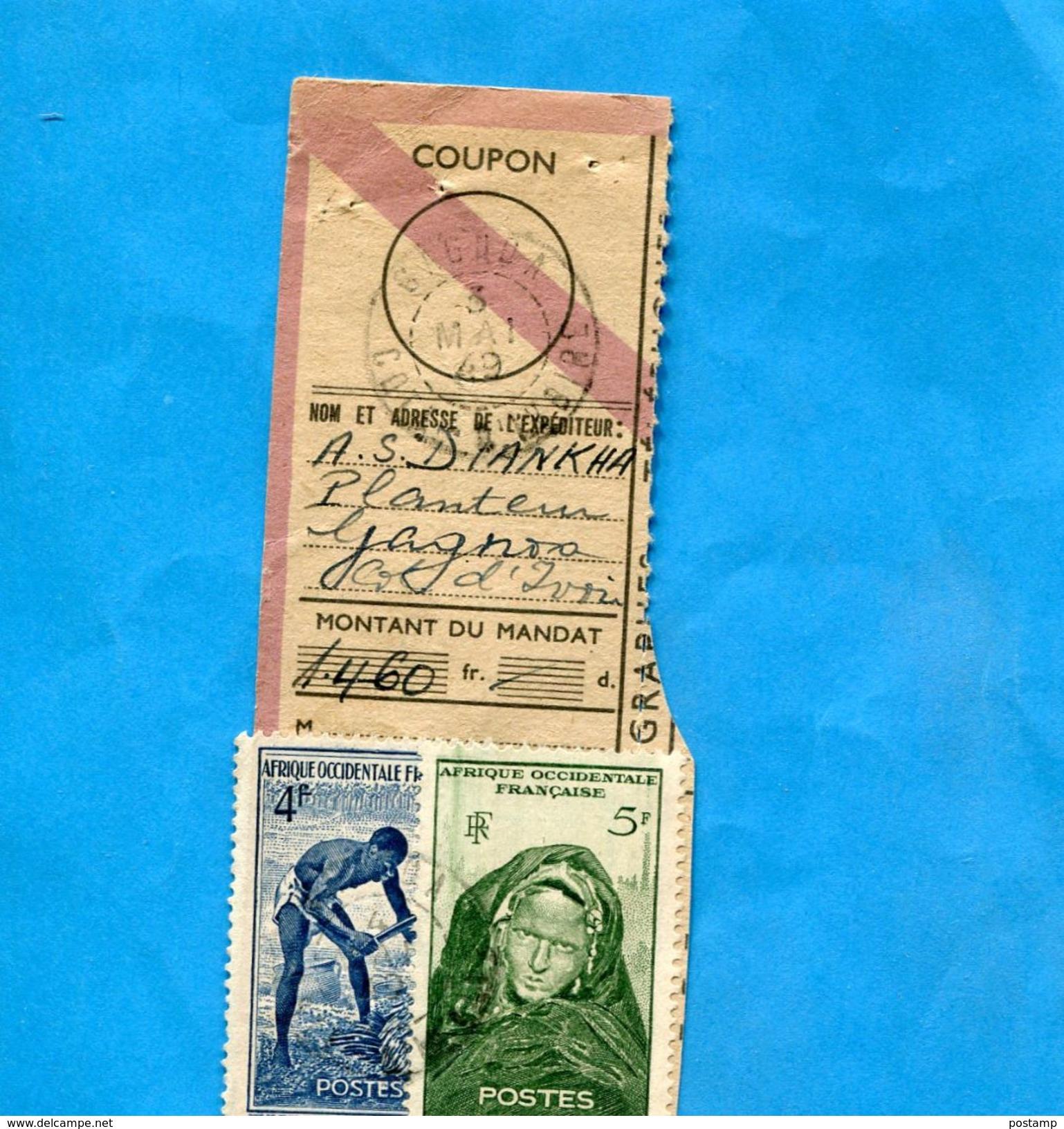 Marcophilie-cote D'ivoireFrançe-coupon De Mandat 1460 Frs Cad-GAGNOA -   1949 Affranchi-2 Stamp AOF 9 Frs - Côte-d'Ivoire (1892-1944)