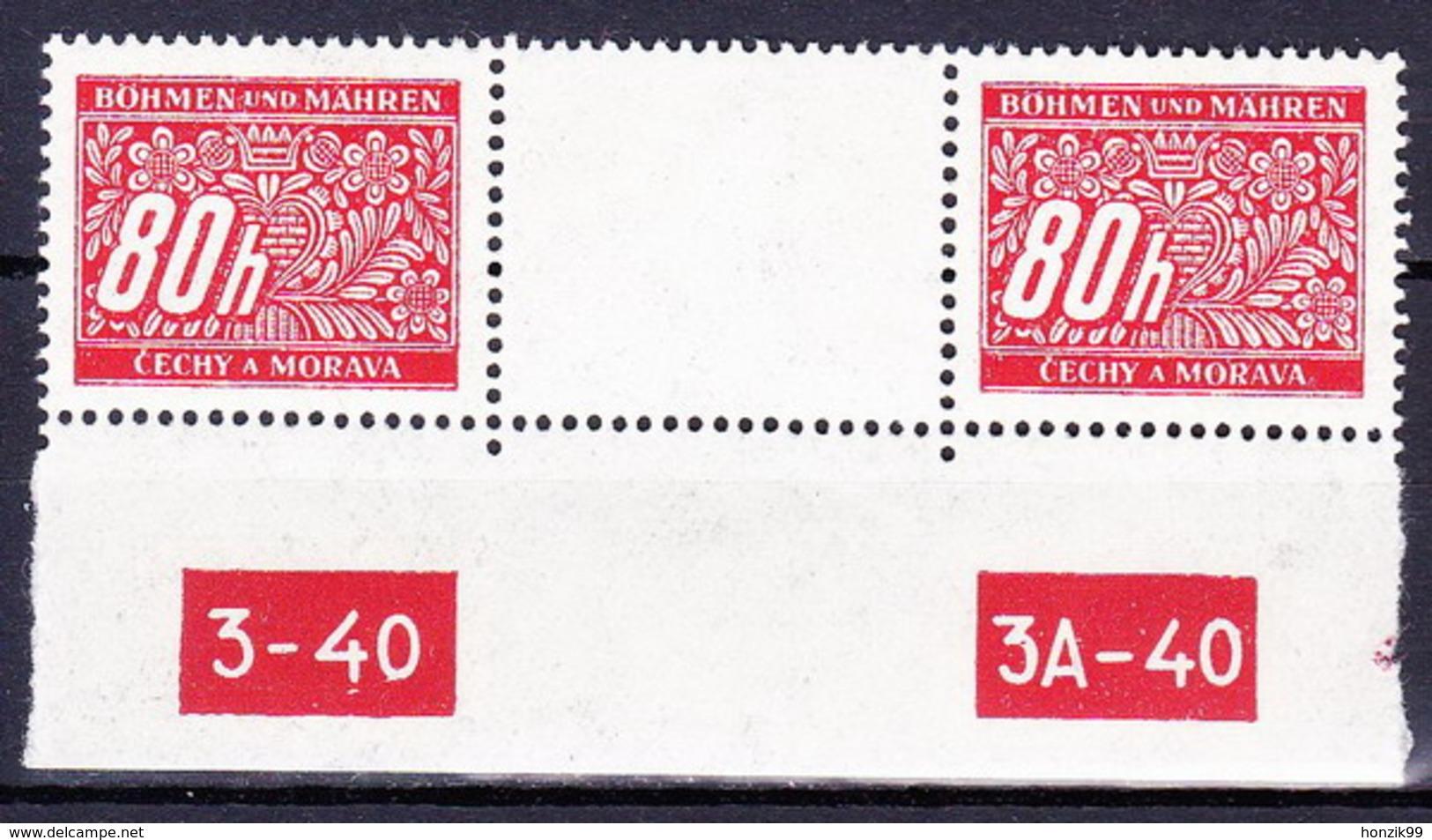 Boheme Et Moravie 1939 Mi P  8 (Yv TT 8), Avec Milésime Tirée No De Planche 3-40 Et 3A-40, (MNH) ** - Bohemia & Moravia