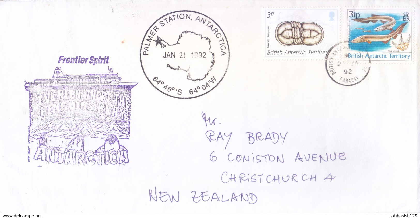 BRITISH ANTARCTIC TERRITORY - EXPEDITION COVER, 1992 - FRONTIER SPIRIT, SLOGAN CANCELLATION, PALMER STATION - British Antarctic Territory  (BAT)