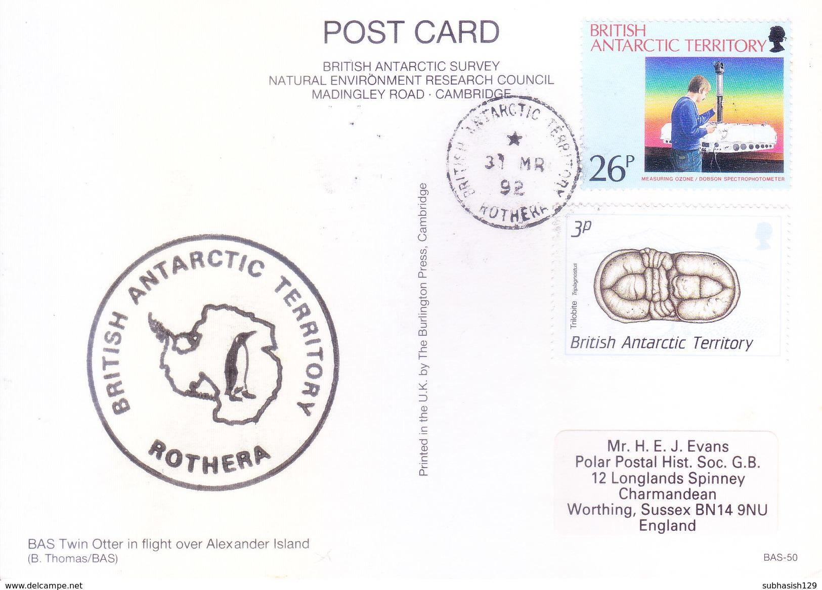 BRITISH ANTARCTIC TERRITORY - EXPEDITION POST CARD, 1992 - BRITISH ANTARCTIC TERRITORY, ROTHERA - Covers & Documents