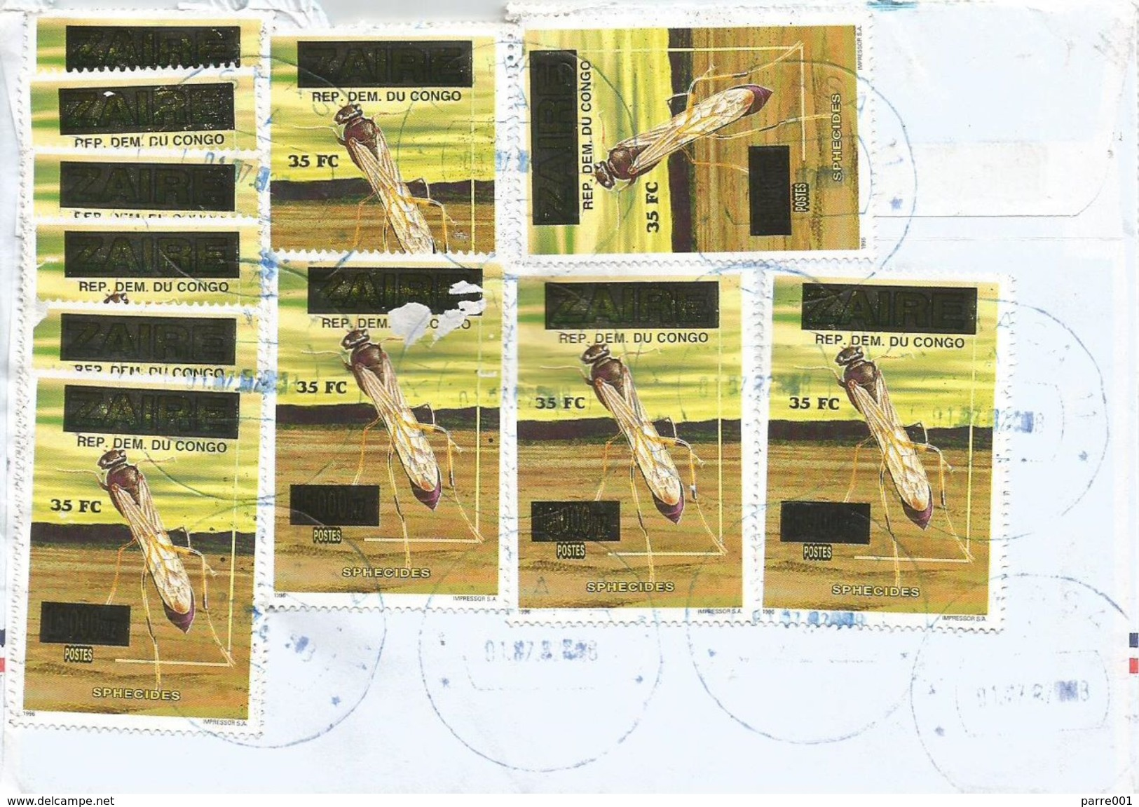 RDC DRC Congo Zaire 2002 Kinshasa Parasitoidal Wasp Overprint 35 FC On 15,000NZ Cover - Andere