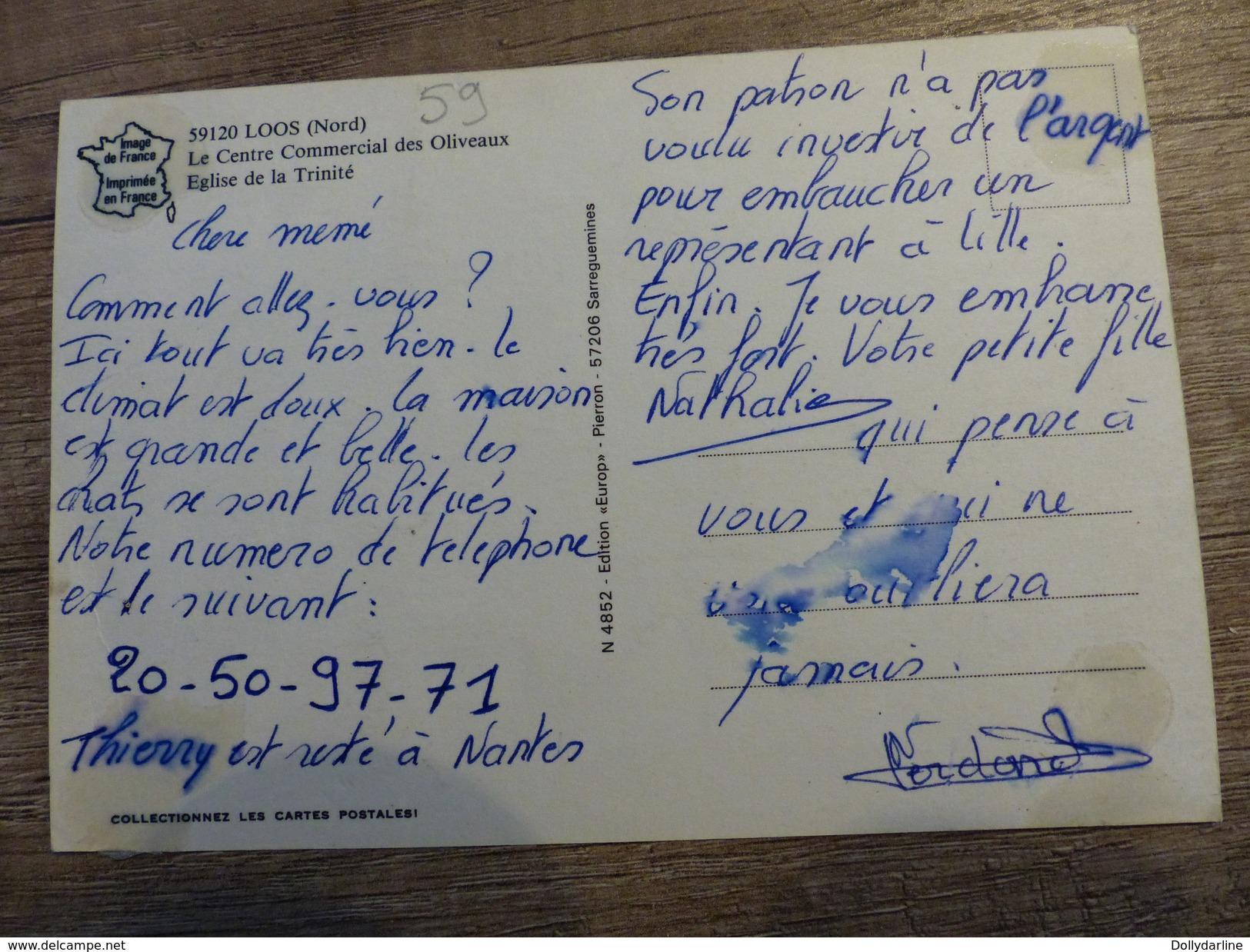 CPSM LOOS Le CENTRE Commercial Des Oliveaux Eglise De La Trinité 59 NORD Ecrite Animée - Loos Les Lille