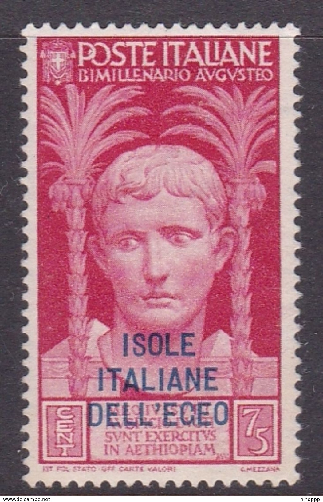 Italy-Colonies And Territories-Aegean General Issue-Rodi S105 1938 Augustus 75c Red MH - Italy
