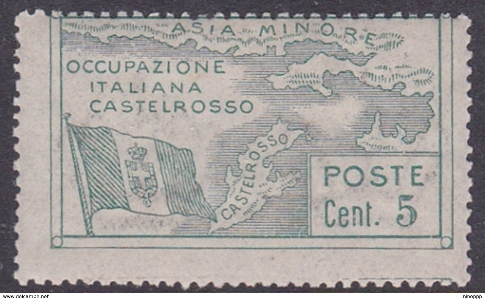 Italy-Colonies And Territories-Castelrosso S10 1923 Italian Occupation 5c Green MNH - Italy