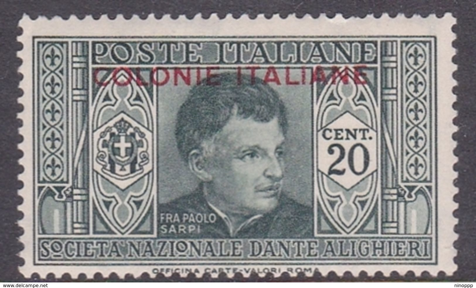 Italy-Colonies And Territories-General Issue S13 1932 Dante Alighieri 20c Green MH - Italy