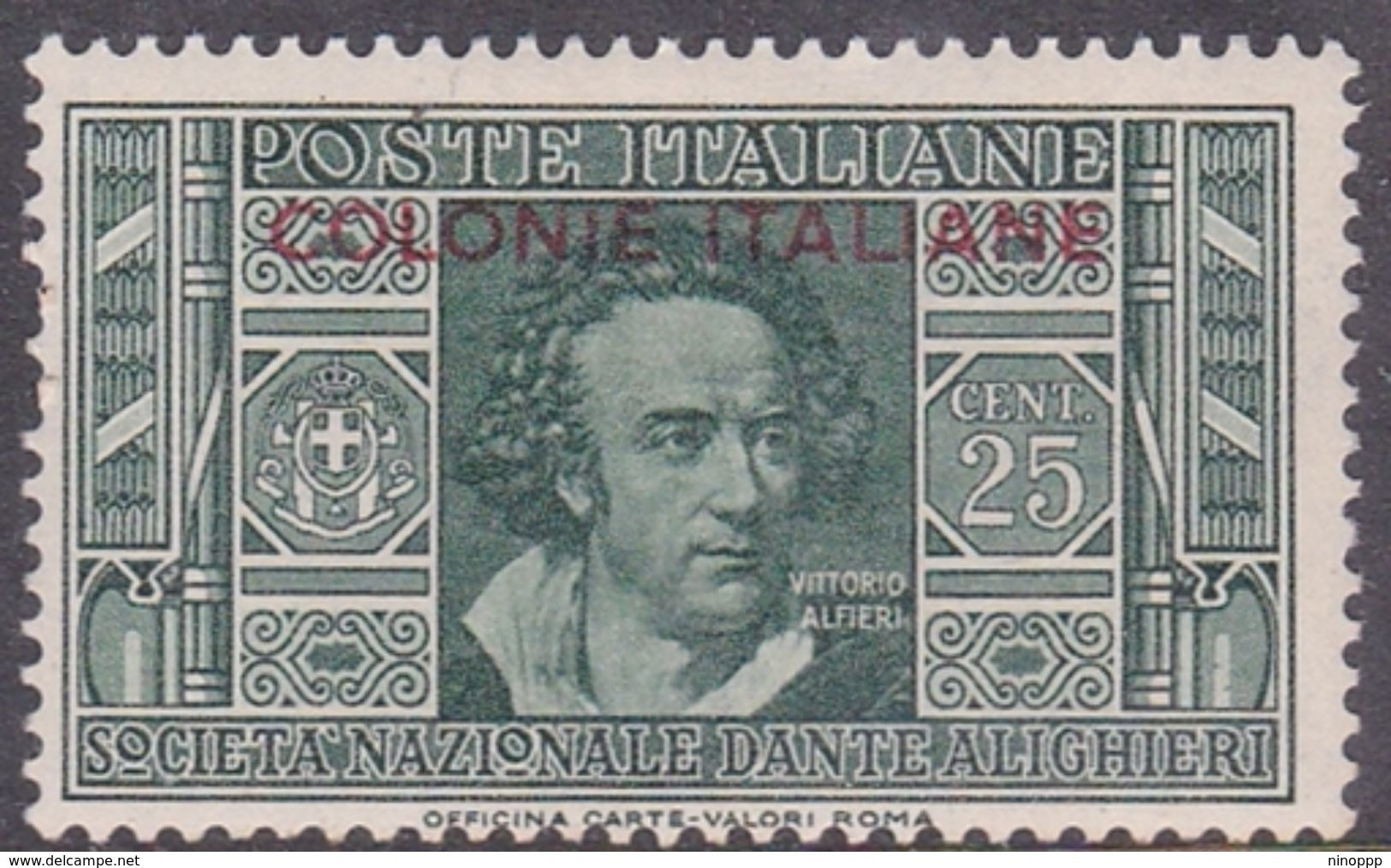 Italy-Colonies And Territories-General Issue S14 1932 Dante Alighieri 25c Green MH - Italy