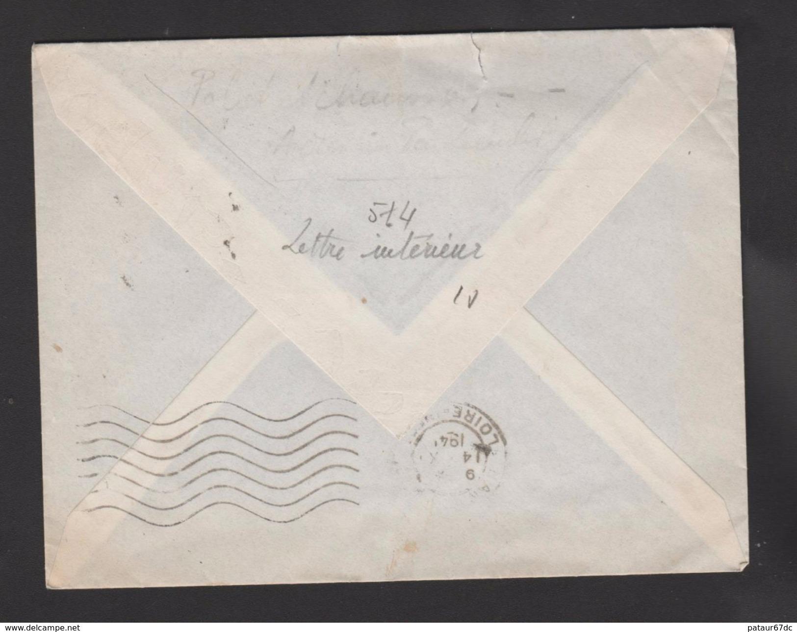 FRANCE / 1941 / Y&T N° 514 : Pétain 1F Rouge - Seul Sur Pli Du 13/10/1941 - Marcophilie (Lettres)