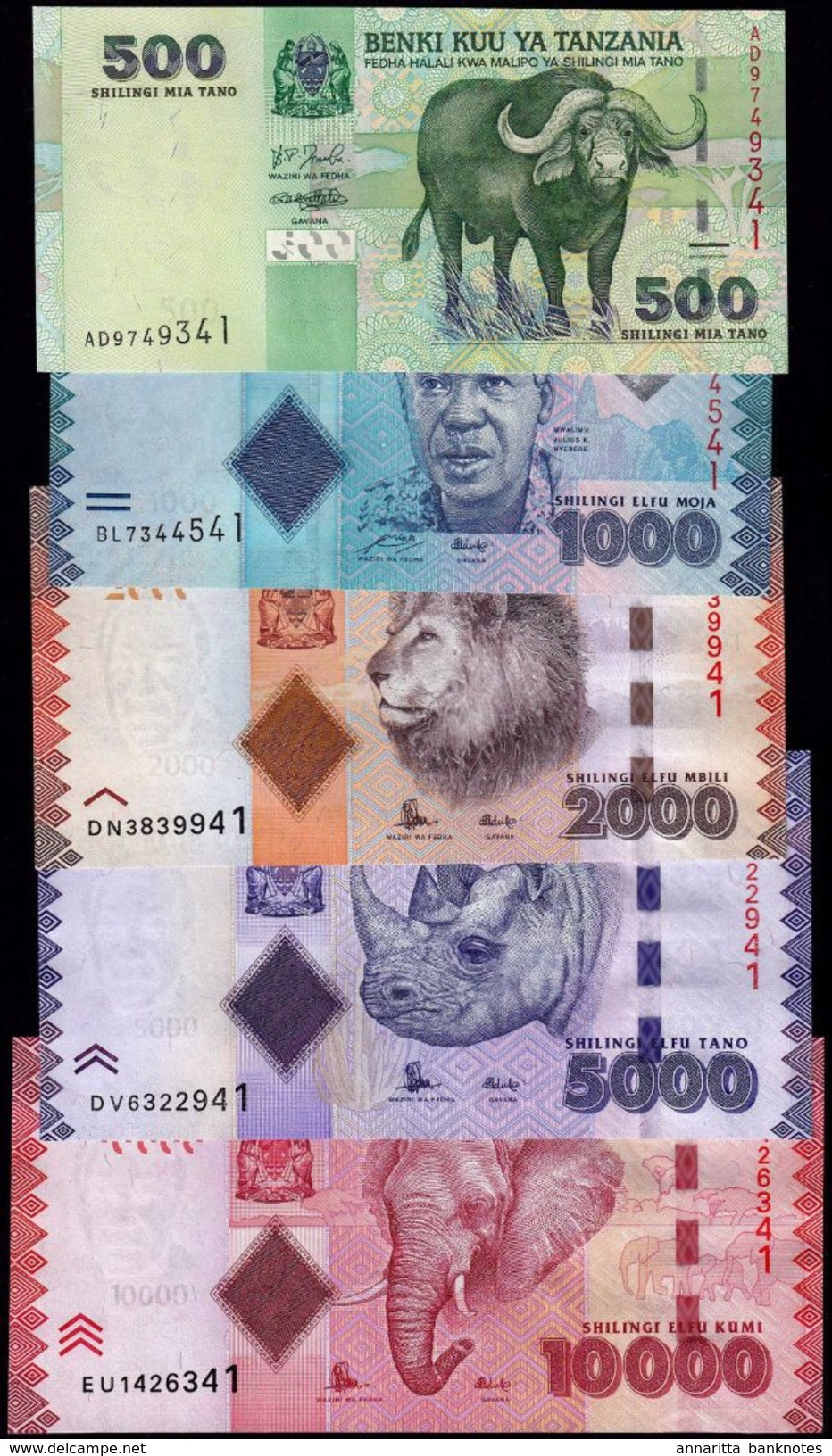 TANZANIA 500 1000 2000 5000 10000 SHILLINGS ND (2010/2015) P.40a-44b UNC FULL SET [TZ139a-143b] - Tanzanie