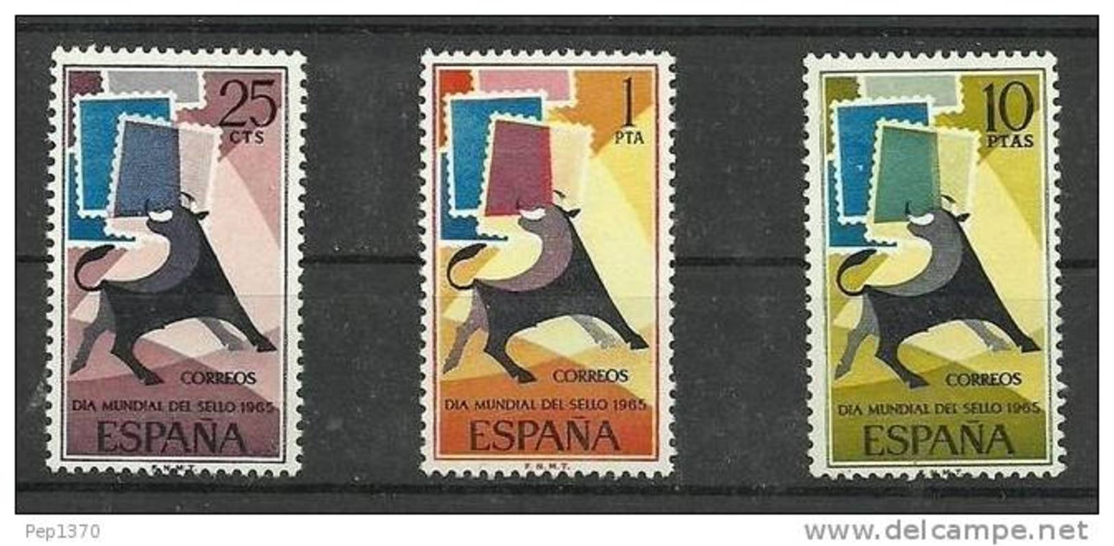 ESPAÑA 1965 - DIA DEL SELLO -  EDIFIL 1667-1669 - Yvert 1322-1324 - 1931-Aujourd'hui: II. République - ....Juan Carlos I