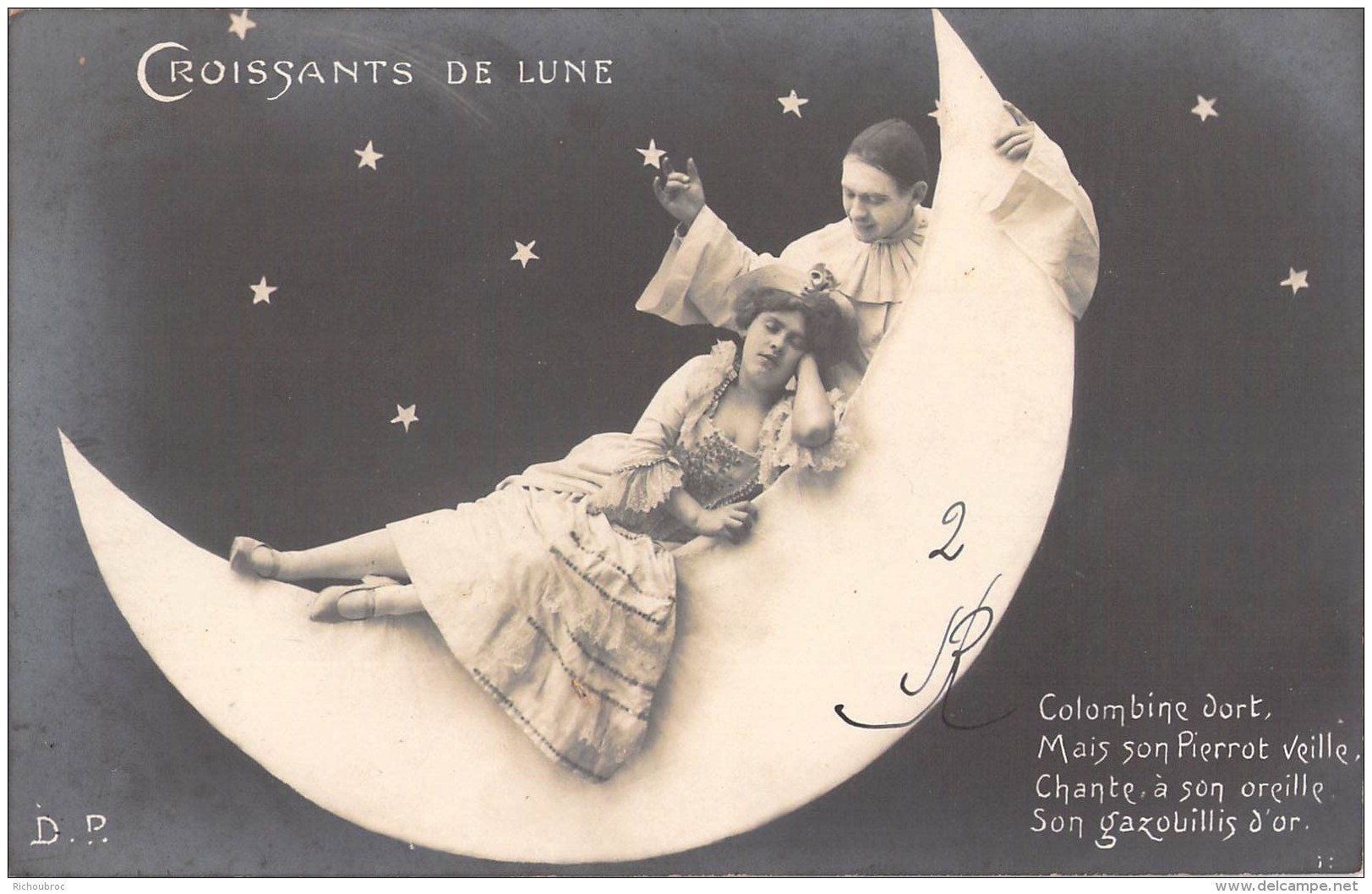 CROISSANTS DE LUNE / COUPLE / COLOMBINE DORT MAIS SON PIERROT VEILLE ... / D.P - Fantaisies