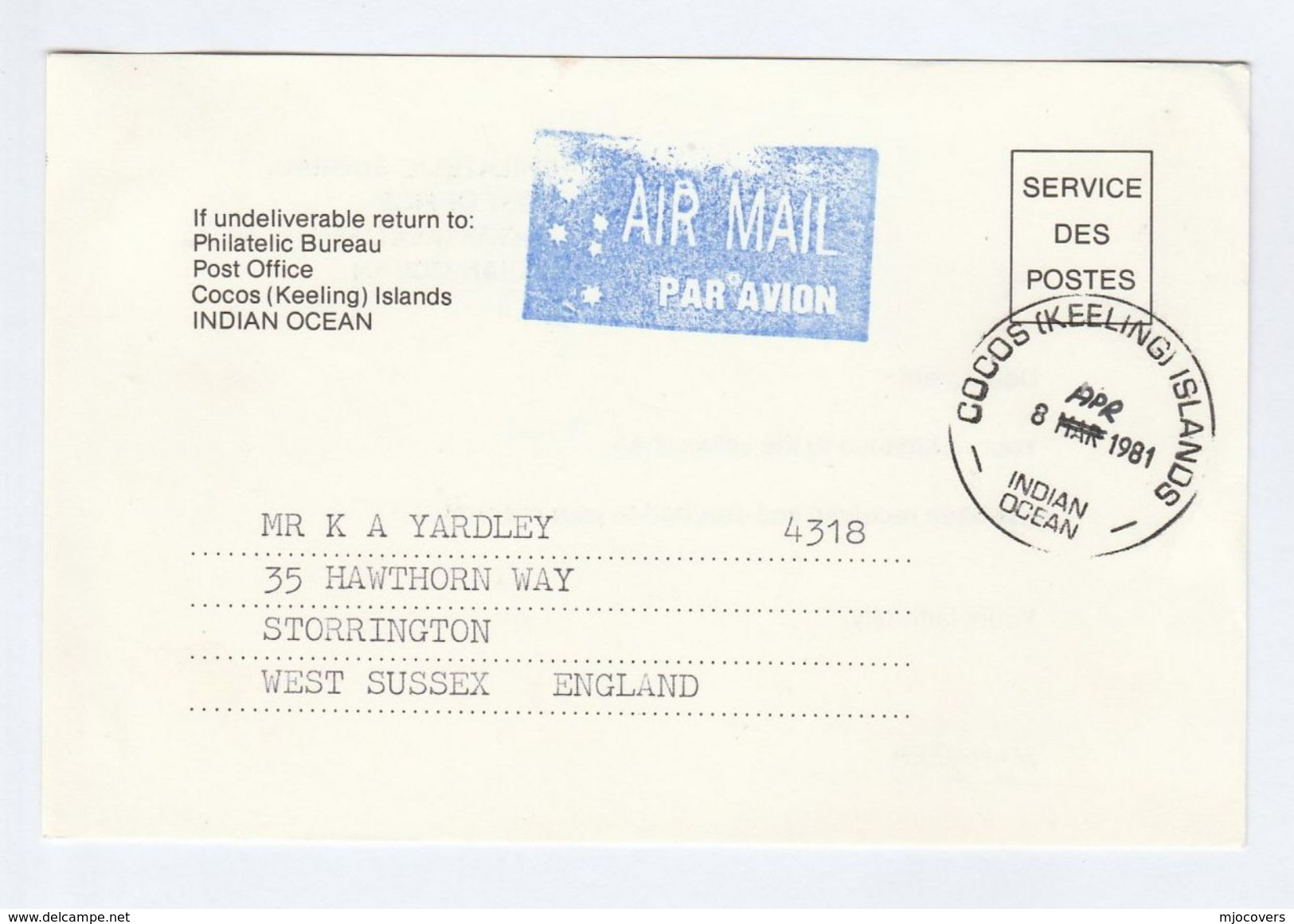 1981 COCOS KEELING Islands SERVICE DES POSTES Postal STATIONERY CARD To GB Cover Stamps - Cocos (Keeling) Islands