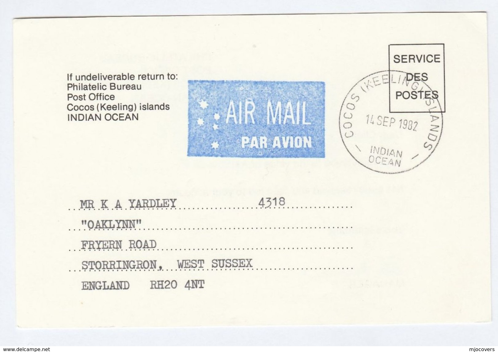 1982 COCOS KEELING Islands SERVICE DES POSTES Postal STATIONERY CARD To GB Cover Stamps - Cocos (Keeling) Islands
