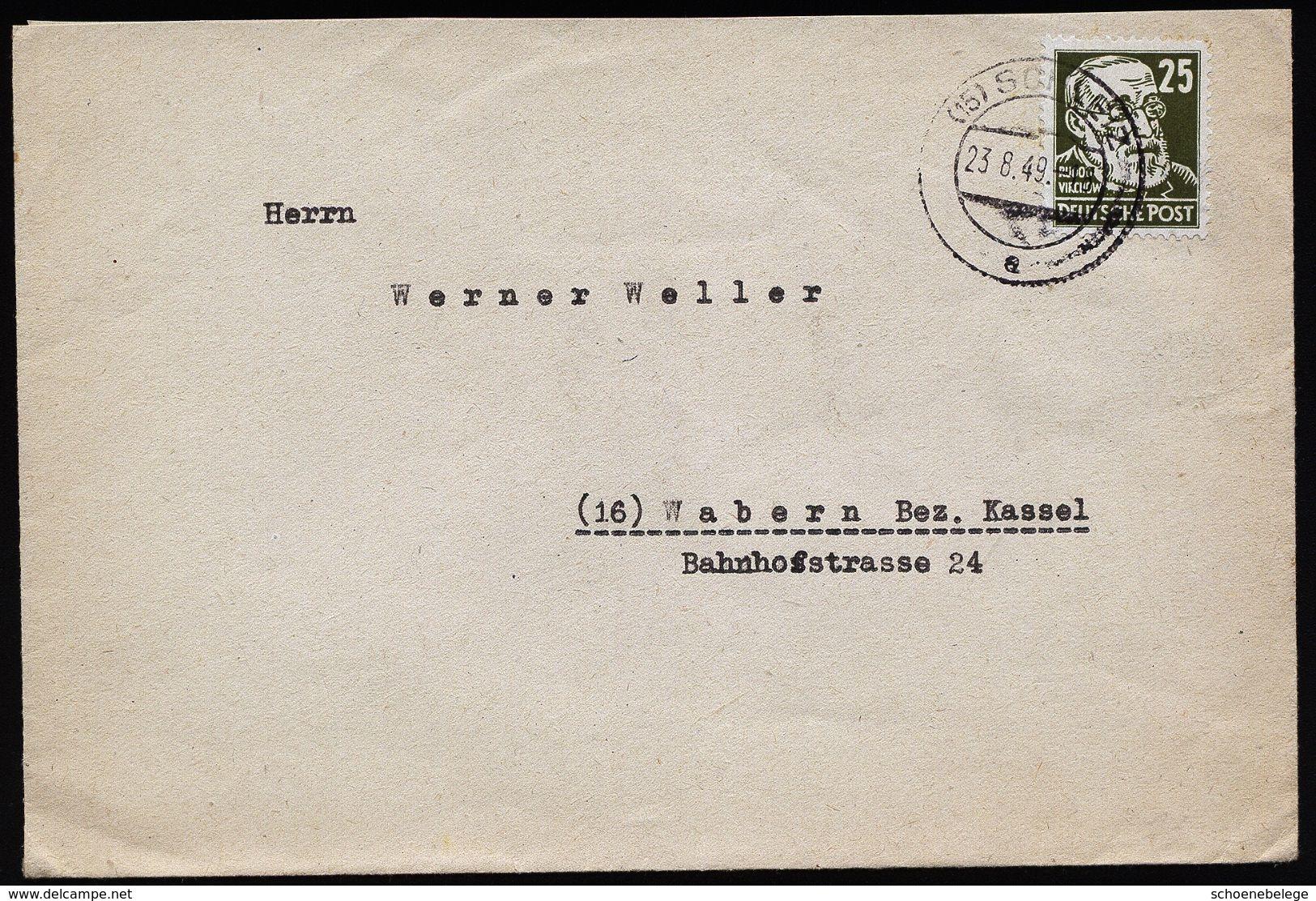 A4801) SBZ Brief Von Schleiz 23.8.49 Mit EF Mi.221 - Sowjetische Zone (SBZ)