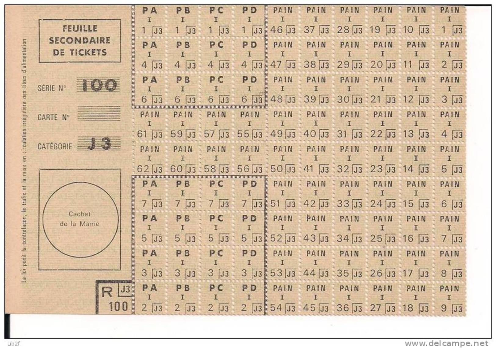 Seconde Guerre Mondiale Collaboration Rationnement Feuille De Ticket J3 Ww2 WWII 39-45 2wk 1939-1945 - 1939-45