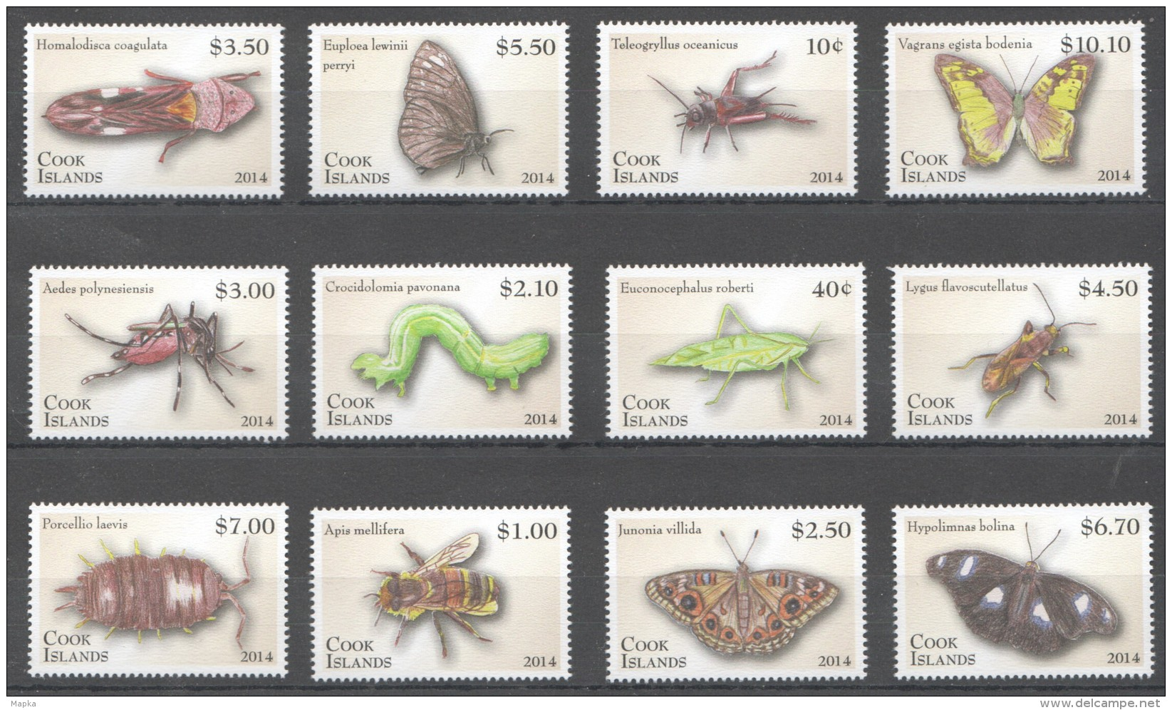 F154 2014 COOK ISLANDS INSECTS ENTOMOLOGY !!!MICHEL 60 EURO 1SET MNH - Insects
