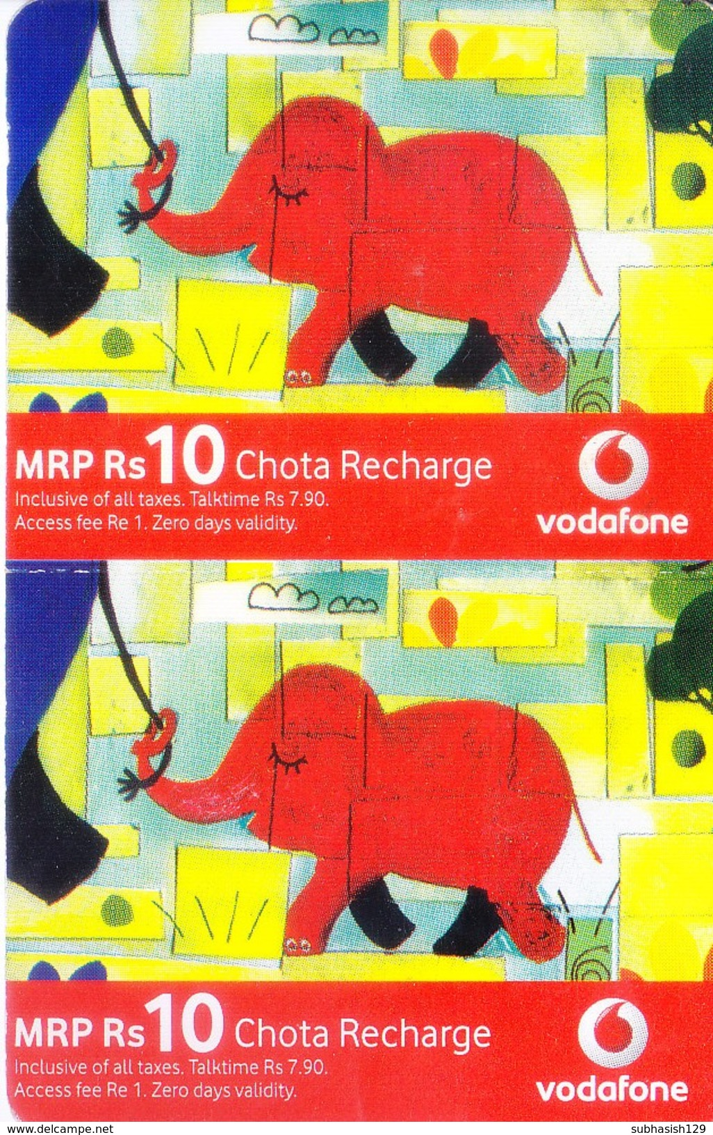 MOBILE / TELEPHONE CARD, INDIA - VODAFONE RS. 10 CHOTA RECHARGE, 2 NOS. CARD - Magnets