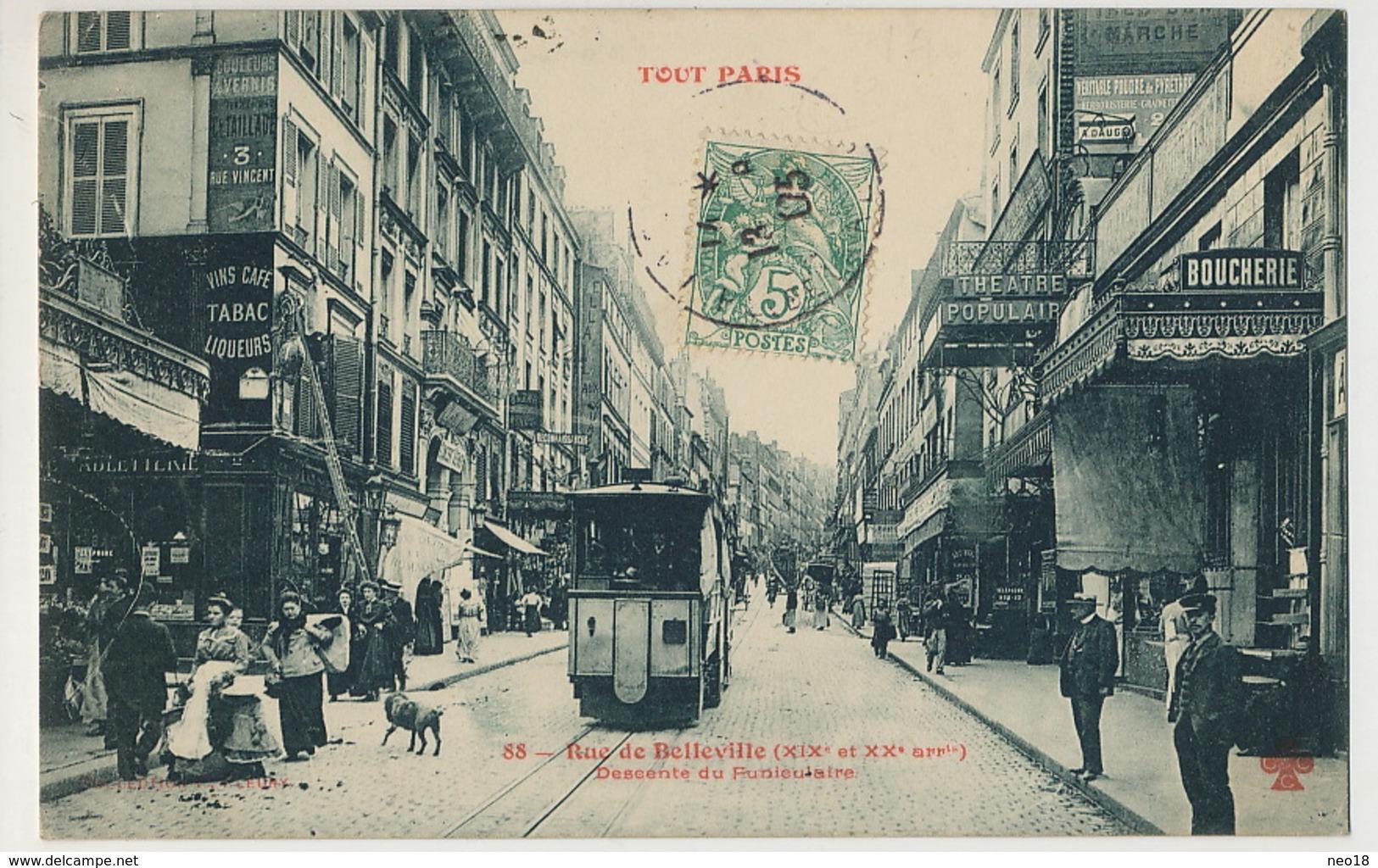 Tout Paris Rue De Belleville 88 XIX Et XX Descente Du Funiculaire Edit Fleury Theatre Populaire Boucherie - Arrondissement: 20