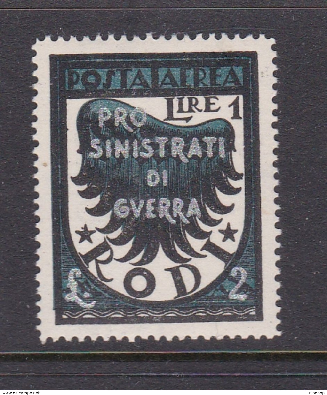 Italy-Colonies And Territories-Aegean General Issue-Rodi A 58 1944 Air Mail  Wing Pro War Victims 1 Lira + 2 Lire Black - Italy