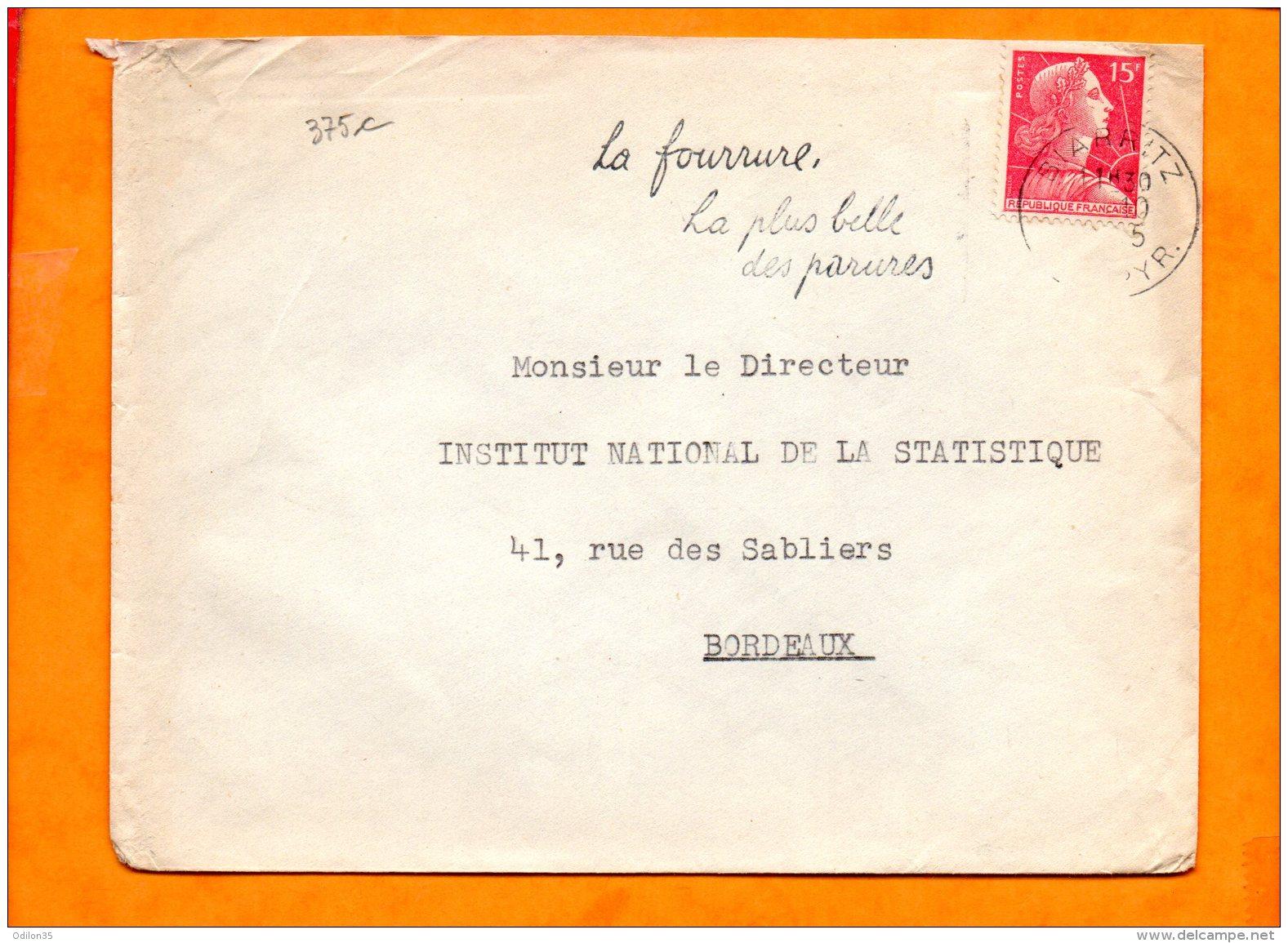 PYRENEES-ATLANTIQUES, Biarritz, Flamme SCOTEM N° 375c, La Fourrure La Plus Belle Des Parures - Storia Postale