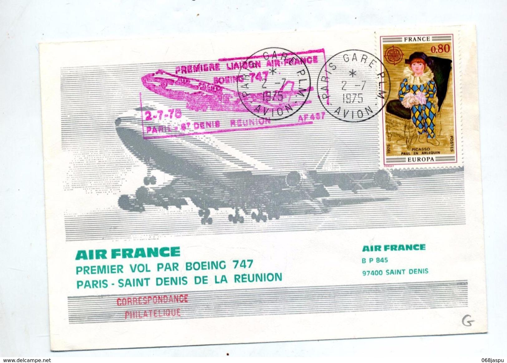 Lettre Premier Vol Air France Boeing 747 Paris Saint Denis Reunion - Airplanes