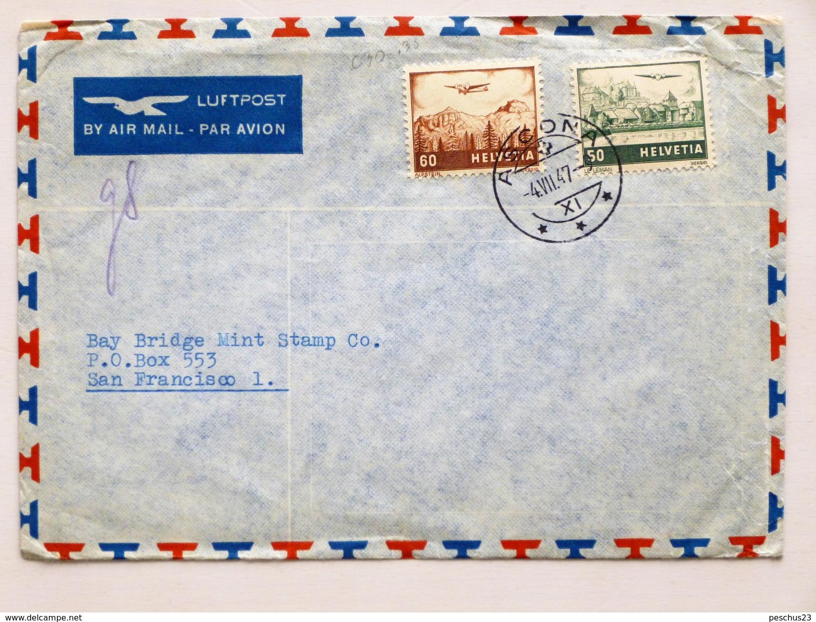 SUISSE / SCHWEIZ / SWITZERLAND // 1947, Flugbrief, ASCONA 4.VII.47 => USA - Suisse