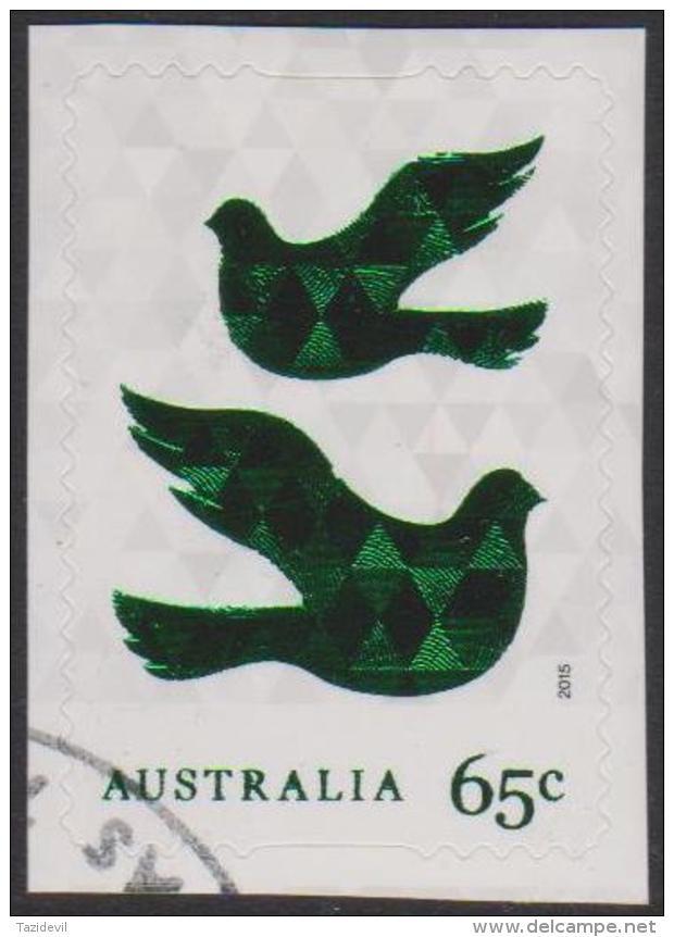 AUSTRALIA - DIE-CUT-USED 2015 65c Christmas, Foil Coated - Doves - 2010-... Elizabeth II