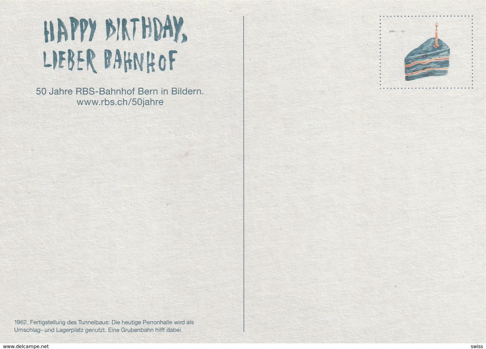 BERN, HAPPY BIRTHDAY LIEBER BAHNHOF TEKST HINTERSEITE - BE Bern