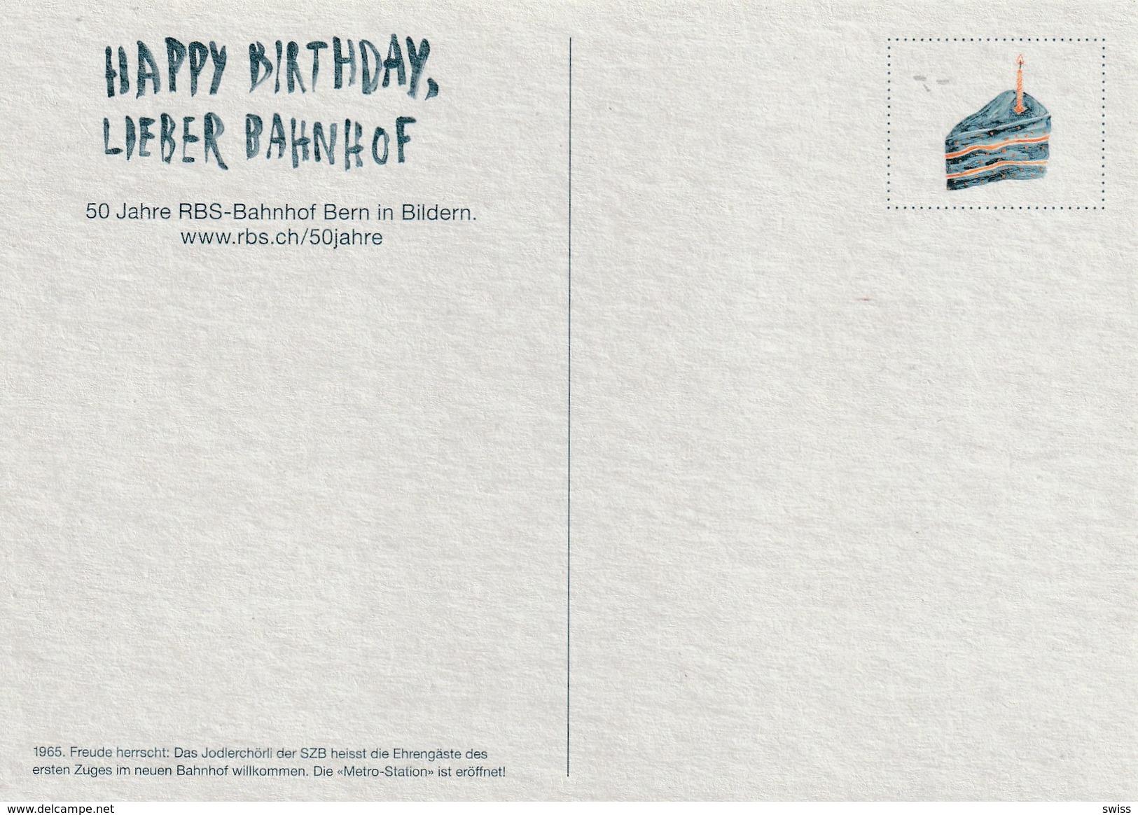 BERN , HAPPY BIRTHDAY LIEBER BAHNHOF TEKST HINTERSEITE - BE Berne