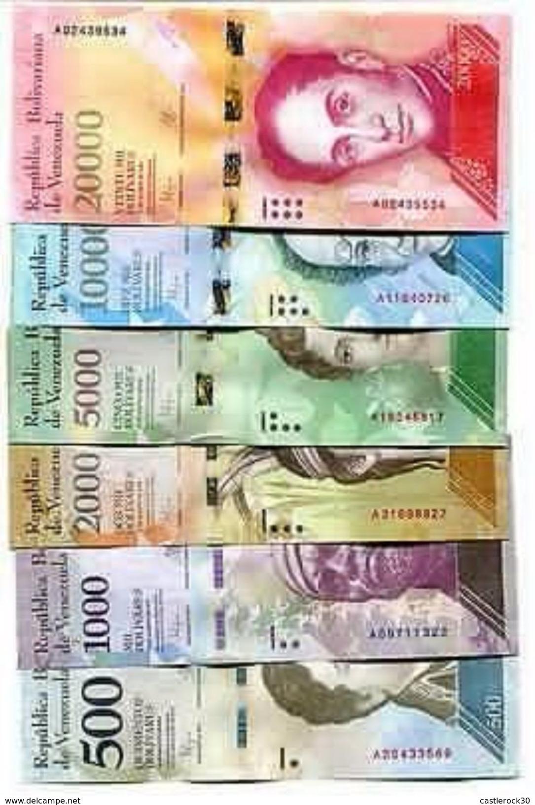 A) VENEZUELA BANKNOTES 2016 2017 UNC FULL SET OF 6, 500 1000 2000 20000 BOLIVARES - Venezuela