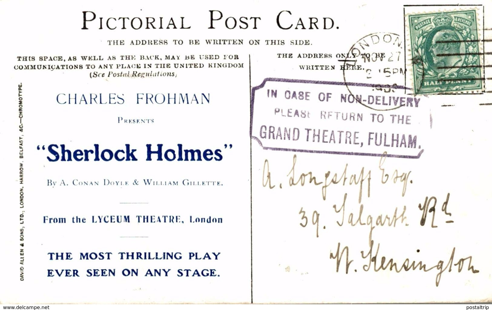 Grand Theatre Fulham  Get Your Hands Down Sherlock Holmes  London - Advertising