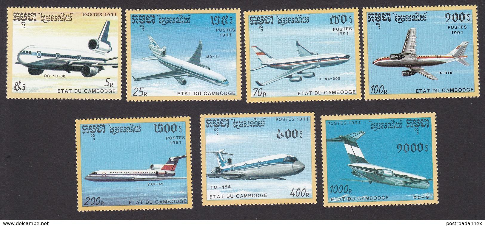 Cambodia, Scott #1152-1158, Mint Hinged, Planes, Issued 1991 - Cambodge