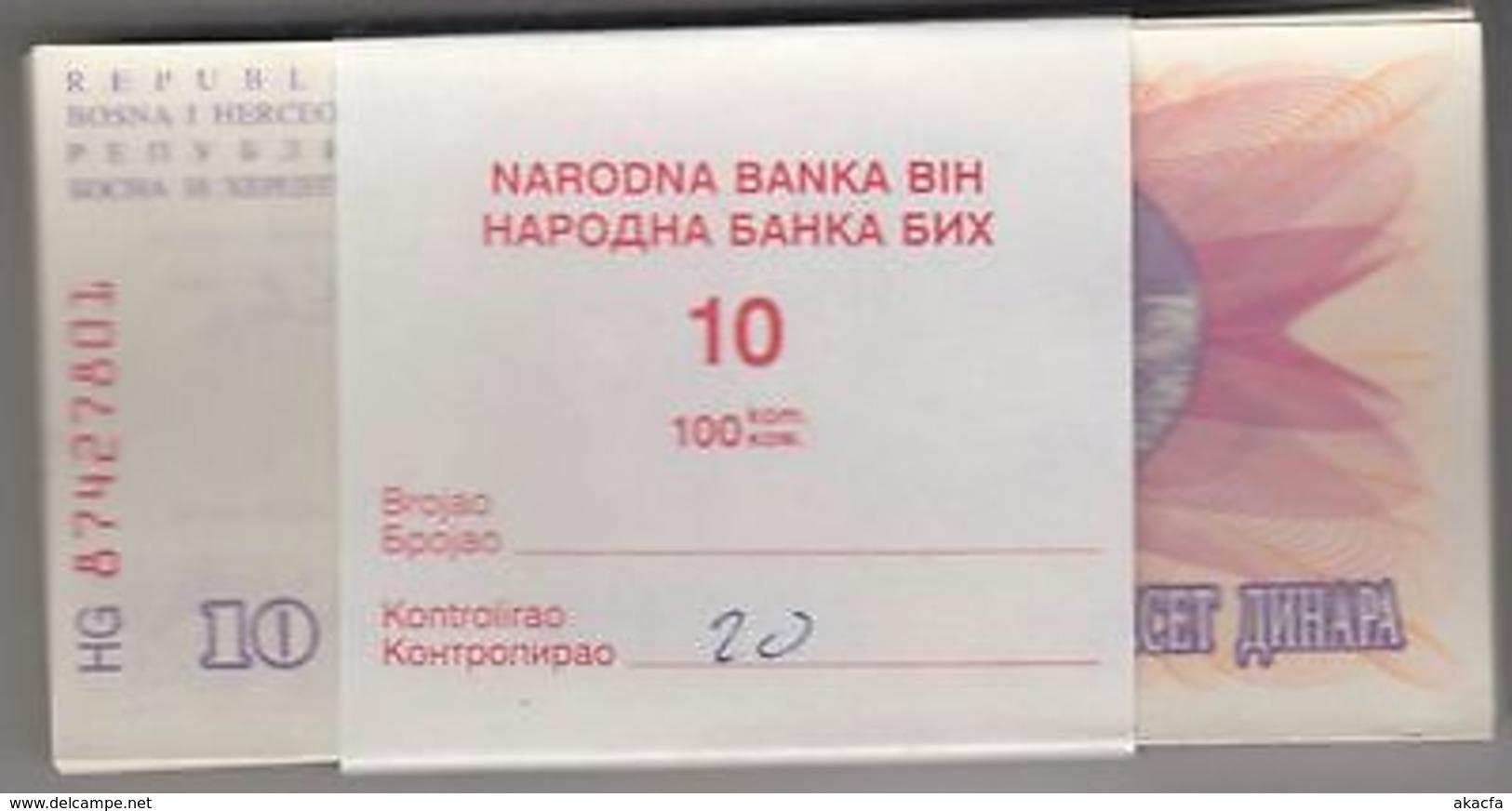 BOSNIE Herzégovine 1992 10 Dinara Bundle 100pcs UNC. Billets P 10 Wholesale - Bankbiljetten